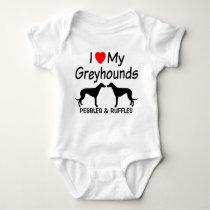 I Love My TWO Greyhound Dogs Baby Bodysuit