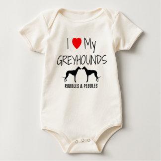 I Love My Two Greyhounds Baby Bodysuit