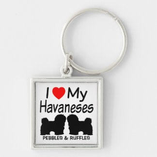 I Love My TWO Havanese Dogs Keychain