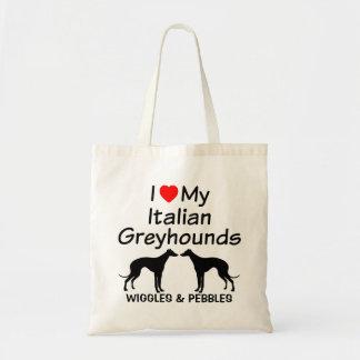 I Love My Two Italian Greyhound Dogs Bag