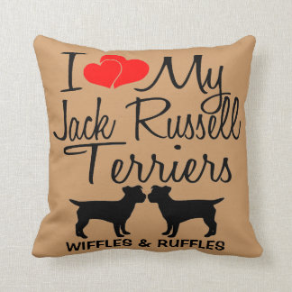 I Love My TWO Jack Russell Terrier Dogs Throw Pillow