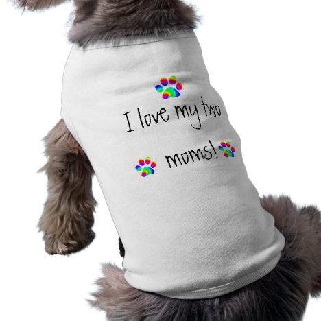 I love my two moms rainbow paw tee