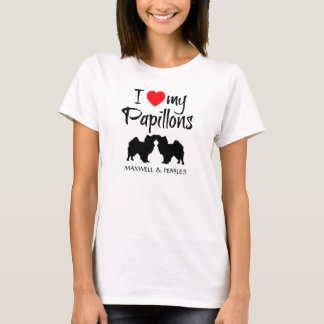 I Love My Two Papillon Dogs T-Shirt