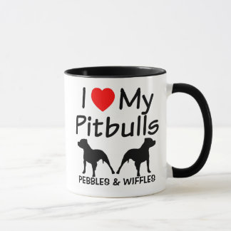 I Love My TWO Pitbull Dogs Mug