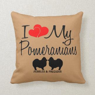 I Love My Two Pomeranians Throw Pillow