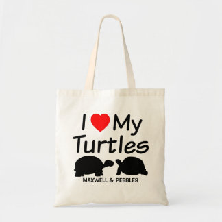 I Love My TWO Turtles Tote Bag