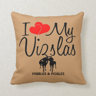 I Love My Two Vizsla Dogs Throw Pillow