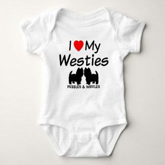 I Love My Two Westie Dogs Baby Bodysuit
