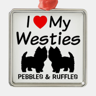 I Love My Two Westie Dogs Ornament