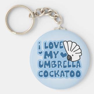 I Love My Umbrella Cockatoo Keychain
