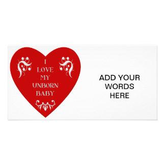 I love my unborn baby custom photo card