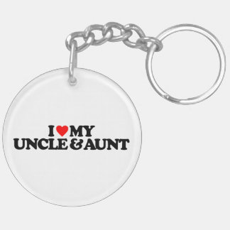 I LOVE MY UNCLE & AUNT Double-Sided ROUND ACRYLIC KEYCHAIN