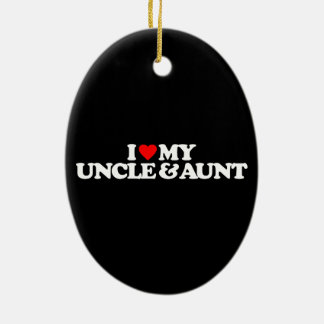 I LOVE MY UNCLE & AUNT Double-Sided OVAL CERAMIC CHRISTMAS ORNAMENT