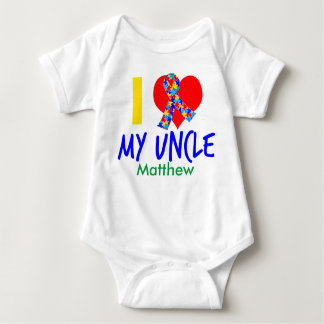 I Love My Uncle Autism Awareness Baby Bodysuit