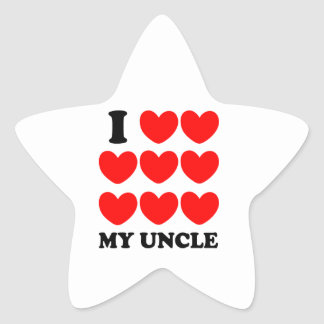 I Love My Uncle Star Sticker