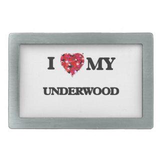I Love MY Underwood Rectangular Belt Buckles
