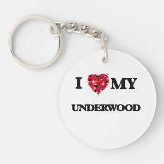 I Love MY Underwood Single-Sided Round Acrylic Keychain