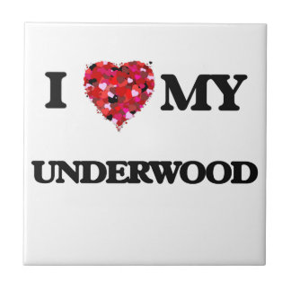 I Love MY Underwood Small Square Tile