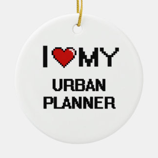 I love my Urban Planner Double-Sided Ceramic Round Christmas Ornament