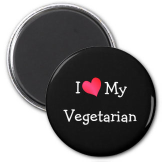 I Love My Vegetarian 2 Inch Round Magnet