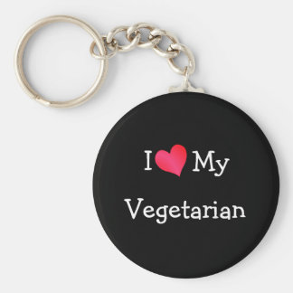 I Love My Vegetarian Keychain