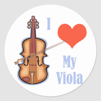 I Love My Viola Classic Round Sticker