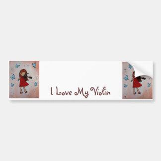 I Love My Violin Bumper Sticker