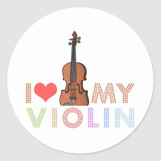I Love My Violin Round Sticker