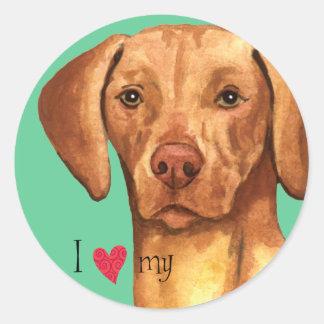 I Love my Vizsla Classic Round Sticker