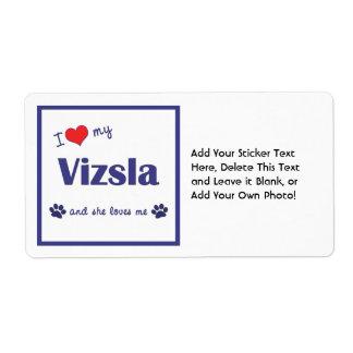 I Love My Vizsla Female Dog Custom Shipping Labels