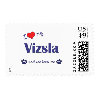 I Love My Vizsla (Female Dog) Postage Stamps