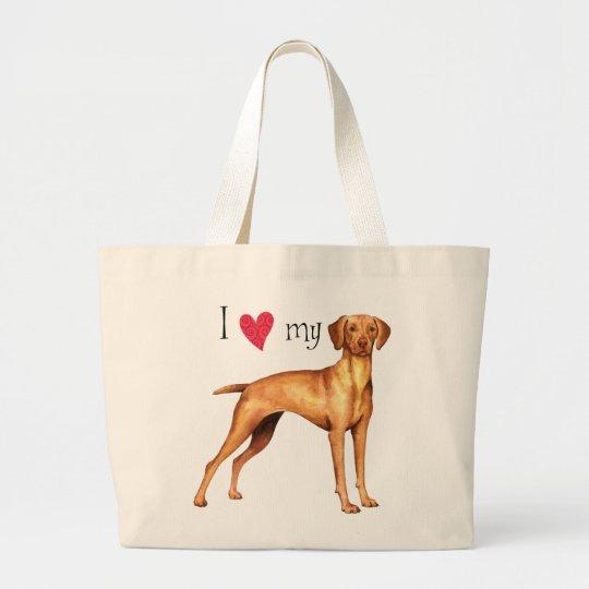 I Love my Vizsla Large Tote Bag