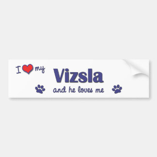 I Love My Vizsla (Male Dog) Car Bumper Sticker