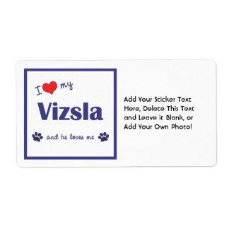 I Love My Vizsla Male Dog Shipping Labels