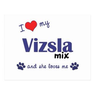 I Love My Vizsla Mix (Female Dog) Postcard