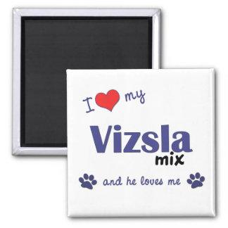 I Love My Vizsla Mix (Male Dog) 2 Inch Square Magnet