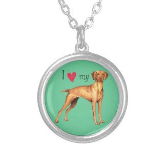 I Love my Vizsla Silver Plated Necklace