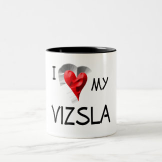 I Love My Vizsla Two-Tone Coffee Mug