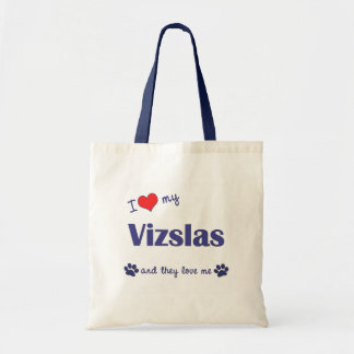 I Love My Vizslas (Multiple Dogs) Tote Bag