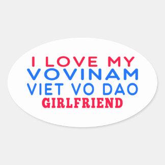 I Love My Vovinam Viet vo Dao Girlfriend Oval Sticker