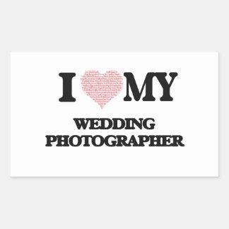 I love my Wedding Photographer (Heart Made from Wo Rectangular Sticker