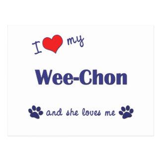 I Love My Wee-Chon (Female Dog) Postcard