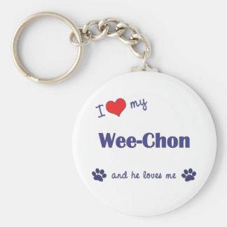 I Love My Wee-Chon (Male Dog) Keychain