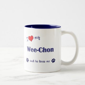 I Love My Wee-Chon (Male Dog) Two-Tone Coffee Mug