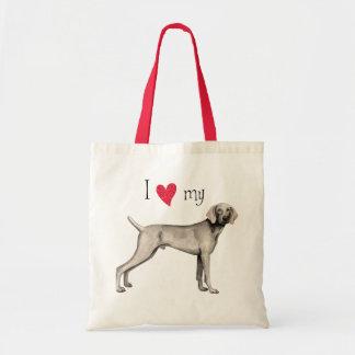 I Love my Weimaraner Canvas Bags