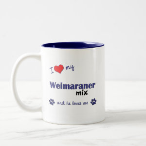 I Love My Weimaraner Mix (Male Dog) mug