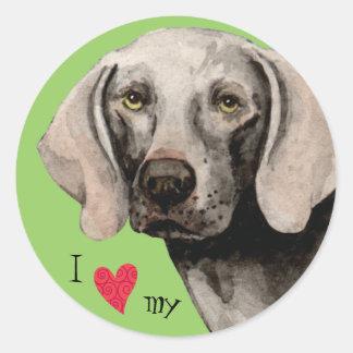 I Love my Weimaraner Stickers
