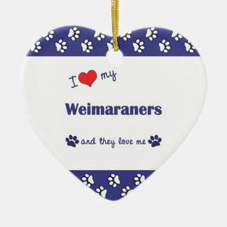 I Love My Weimaraners (Multiple Dogs) Christmas Ornaments