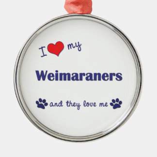 I Love My Weimaraners (Multiple Dogs) Christmas Tree Ornament
