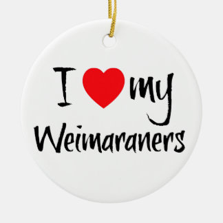 I Love My Weimaraners Double-Sided Ceramic Round Christmas Ornament